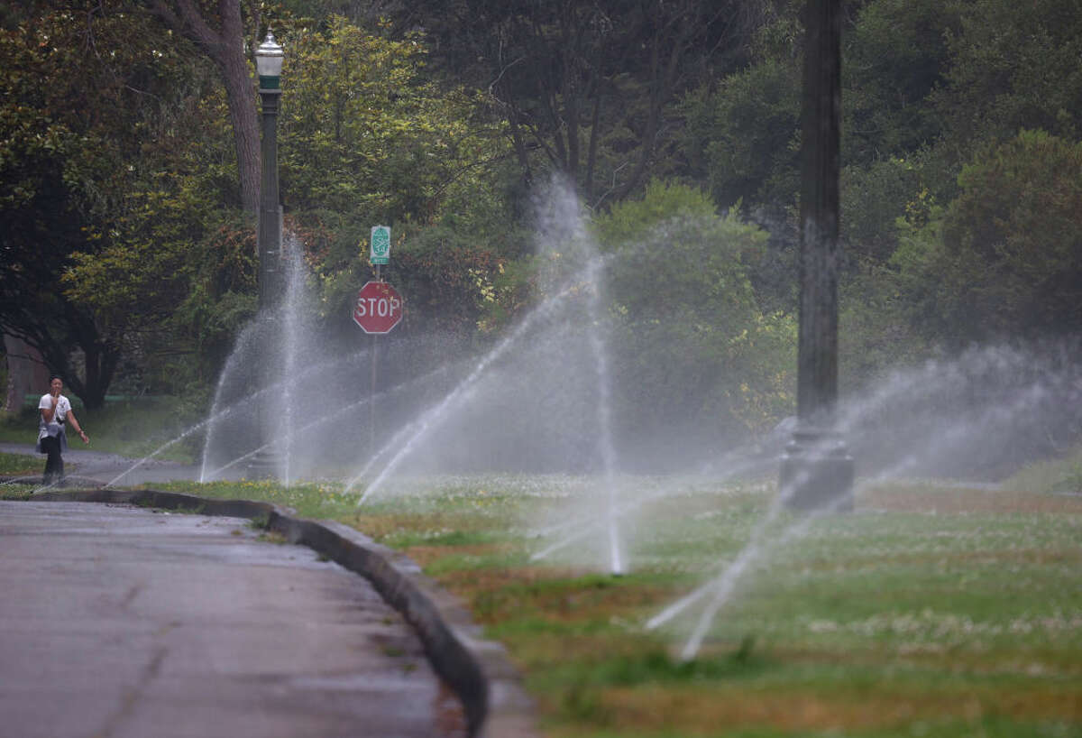 Sprinklers watering a lawn at Golden Gate Park on June 14, 2021 in San Francisco, California.