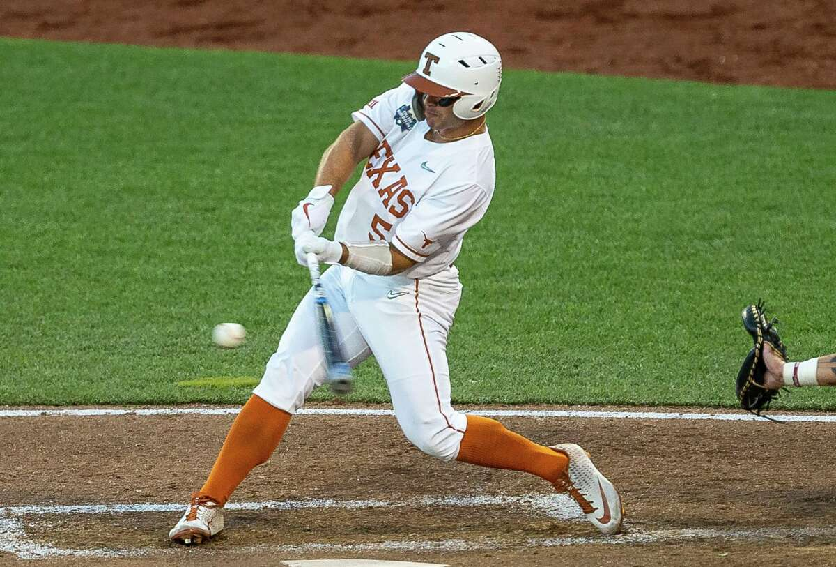 Texas outfielder Mike Antico connects for a ninth-inning homer, one of only four hits for the Longhorns, in Sunday's 2-1 loss to Mississippi State.