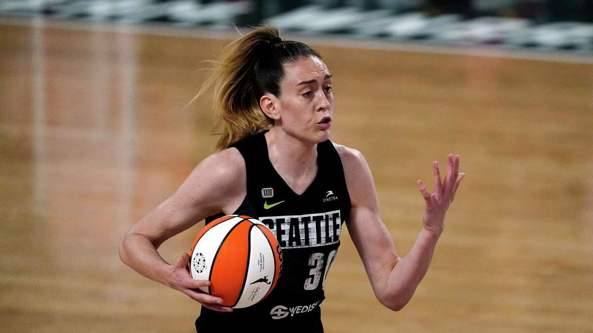 Seattle Storm forward Breanna Stewart (30) works against the Atlanta Dream during the first half of their WNBA basketball game Wednesday, June 9, 2021, in College Park, Ga. (AP Photo/John Bazemore)