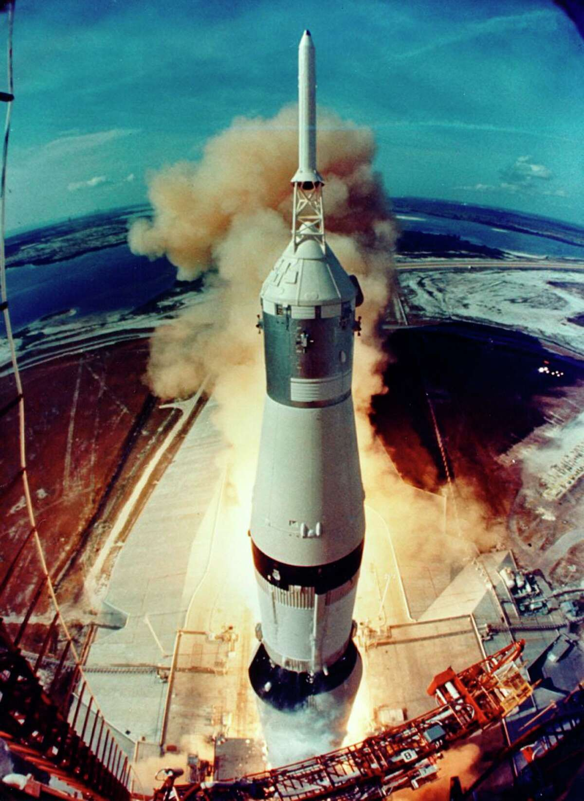 Apollo 11 liftoff as seen from the launch tower camera, July 16, 1969.  - 1200x0 - A Texas-size space summer has billionaires racing for the heavens