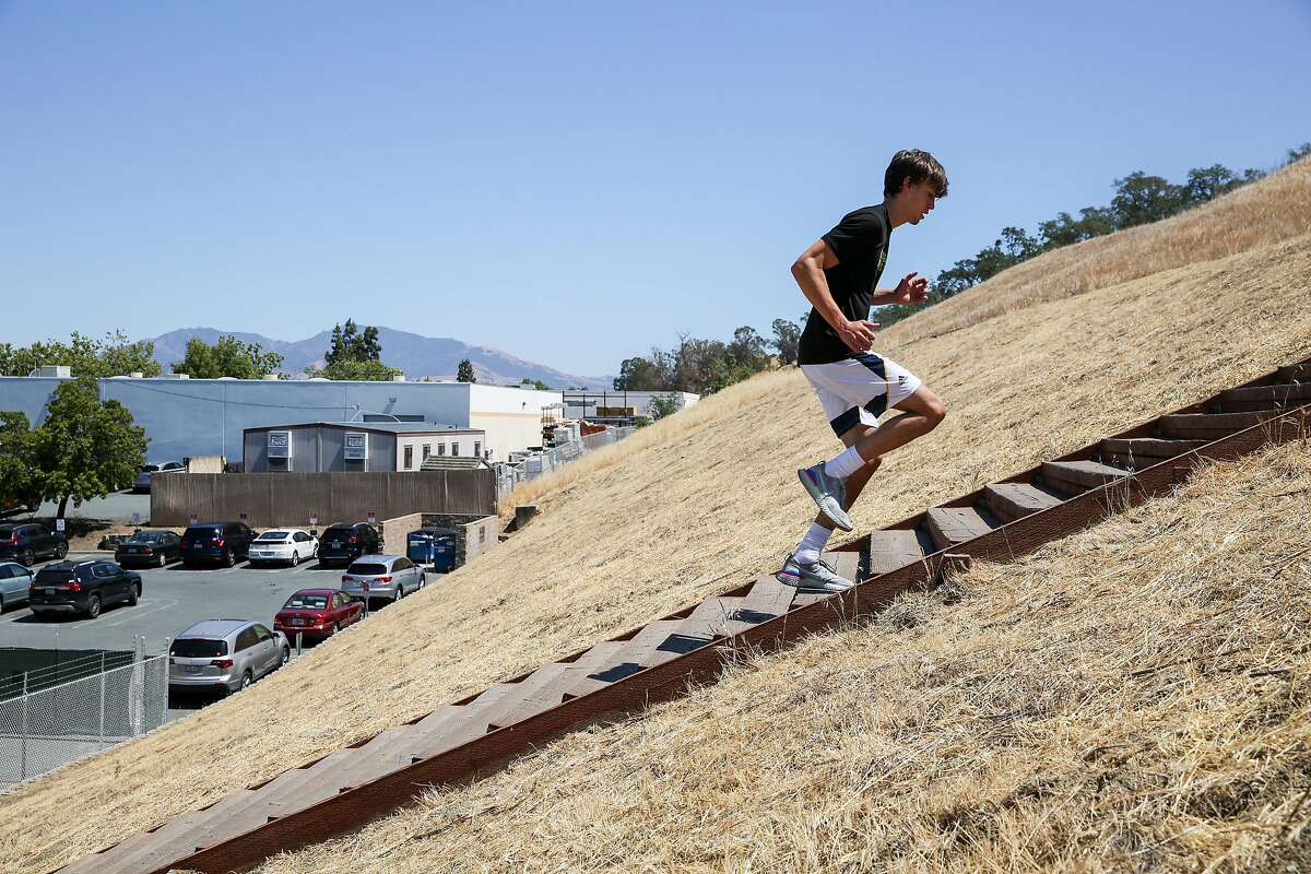 """""""I think it'll be a super cool opportunity for all athletes including myself,"""" said Aidan Mahaney, 17, running the steps at Power Endurance Training Center in Martinez on Monday."""