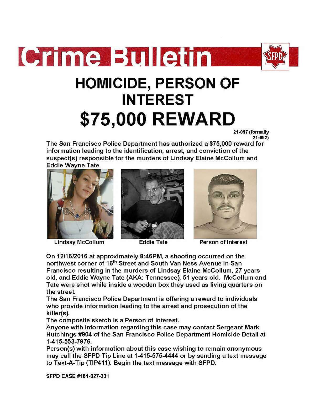 """A poster advertises the police reward for the killers of Lindsay McCollum and Eddie """"Tennessee"""" Tate, killed in a 2016 in San Francisco's Mission District."""