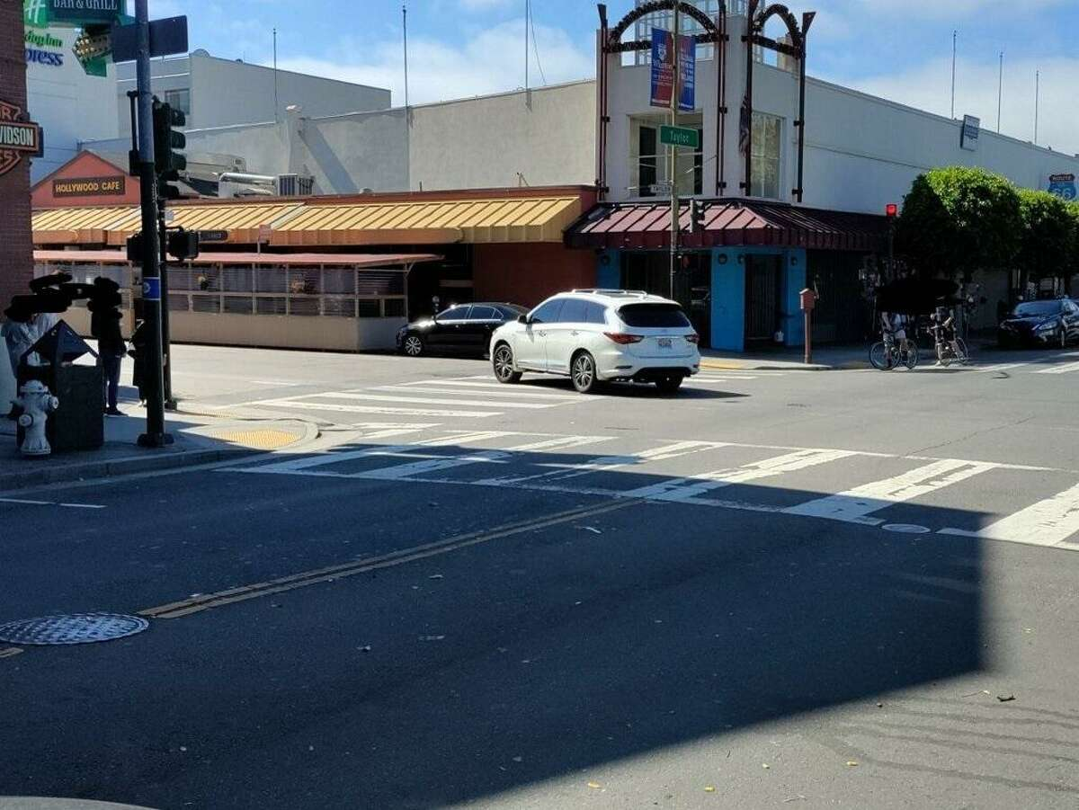 The white Infinity SUV with California license plate number 7MJJ084 that police believe struck a pedestrian in a hit-and-run crash on Monday, June 21, 2021.