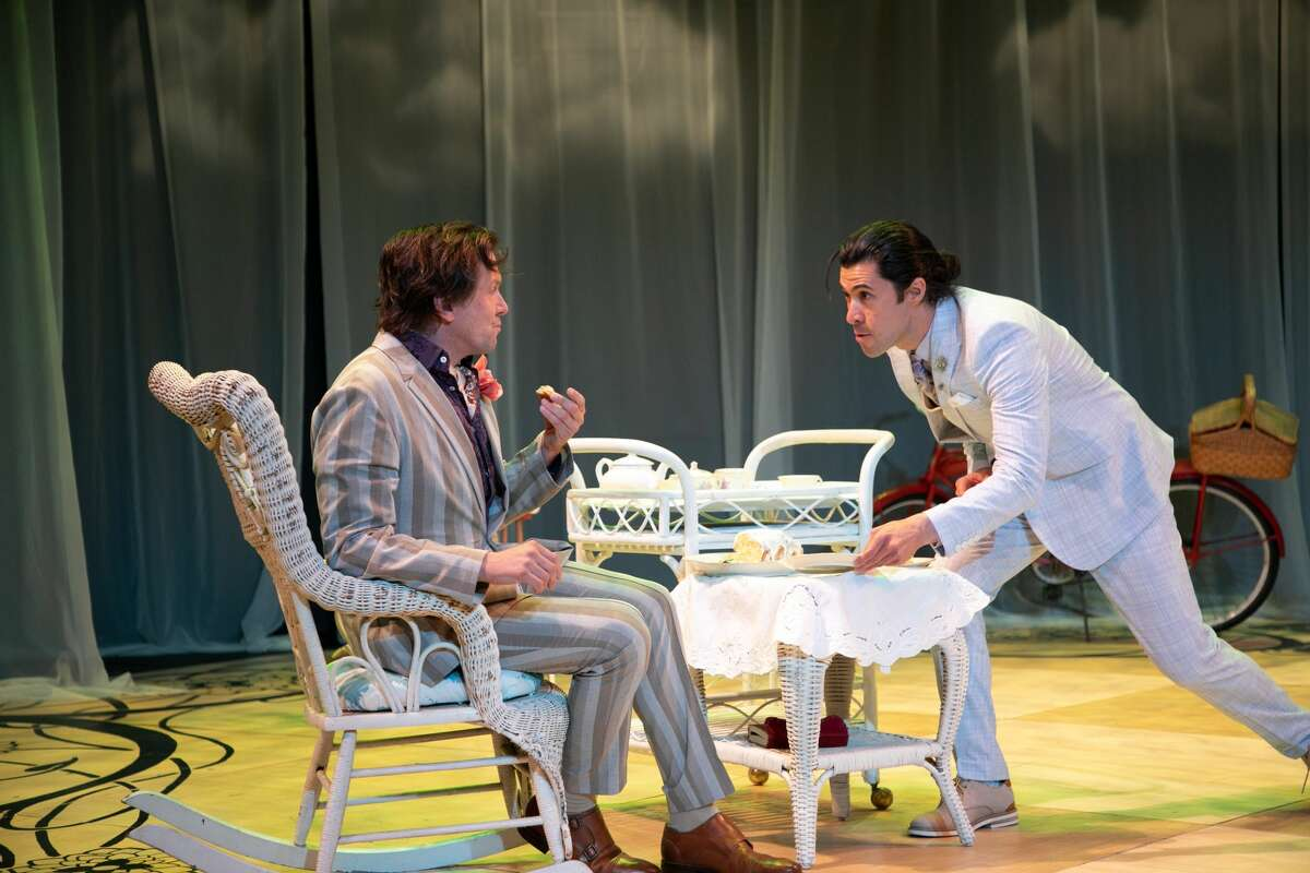 """Shawn Fagan, left, and Mitchell Winter in Berkshire Theatre Group's production of """"The Importantce of Being Earnest."""" (Emma K. Rothenberg-Ware/BTG.)"""