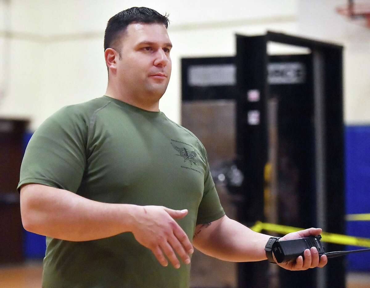 Then Wallingford Police Department Lt. John Ventura conducts active shooter training in 2018, during April vacation at Moran Middle School in Wallingford. Ventura was promoted to police chief.