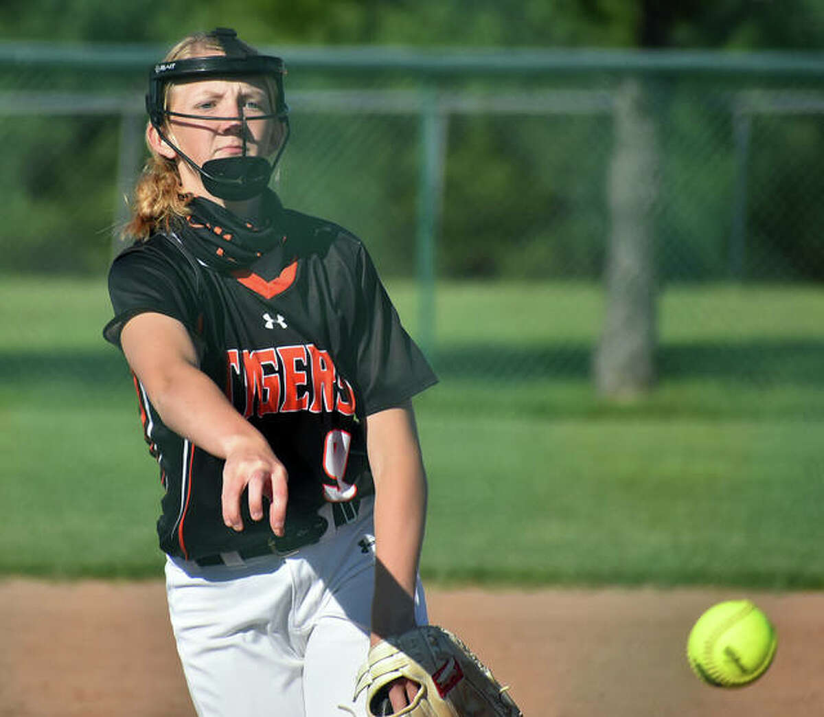 Edwardsville senior Avery Hamilton delivers a pitch to a hitter earlier this season.