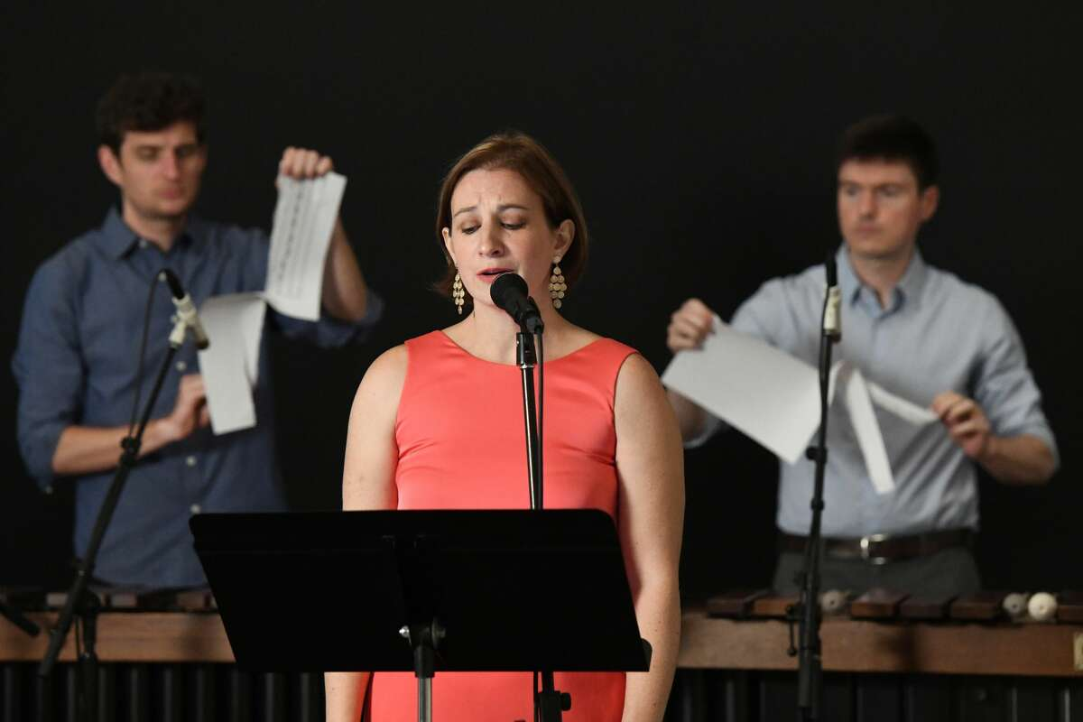"""Soprano Lindsay Kesselman performs """"Energy in All Directions"""" with Sandbox Percussion on June 12, 2021, at the Frances Young Tang Teaching Museum and Art Gallery at Skidmore College. Photo by Cindy Schultz."""