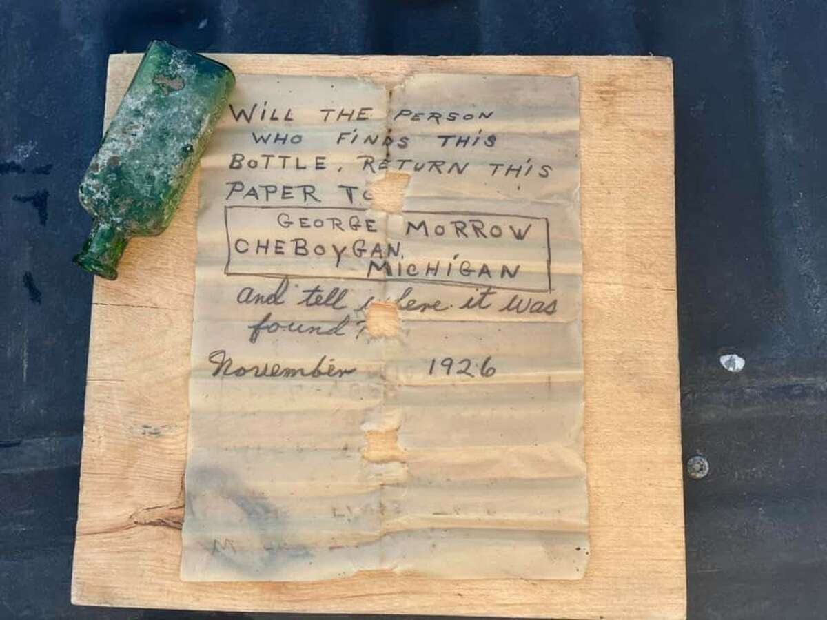 """""""Will the person who finds this bottle return the note to George Morrow?"""" the note reads, dated November 1926. The bottle was recovered June 18 in the Cheboygan River by Nautical North Family Adventures."""