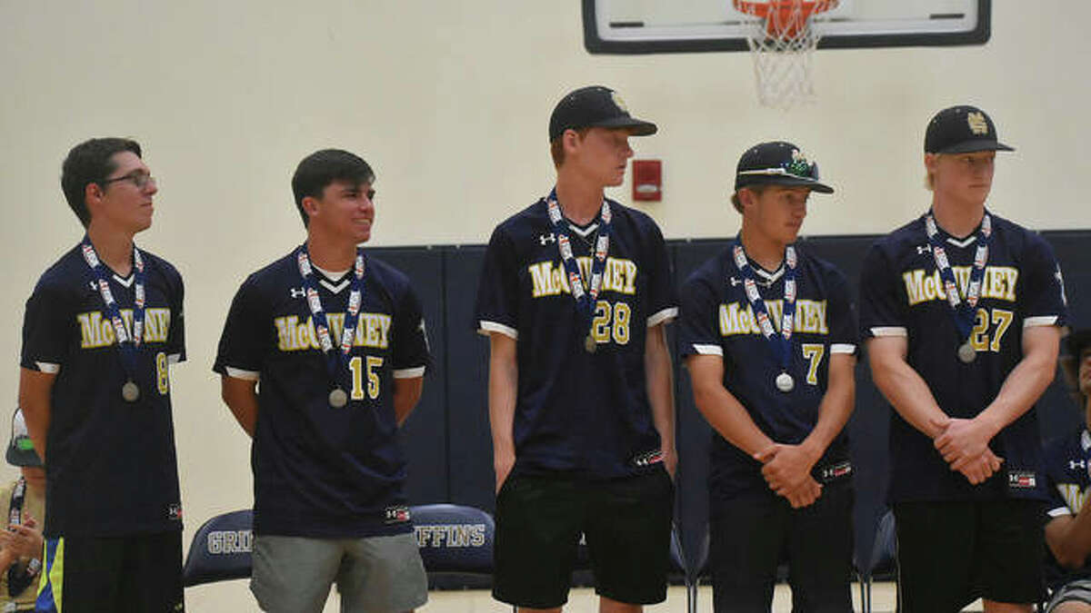 The Father McGivney senior class of Christian Logue, Luke Deakos, Drew Sowerwine, Austin Callovini and Matthew Gierer are honored at a celebration.