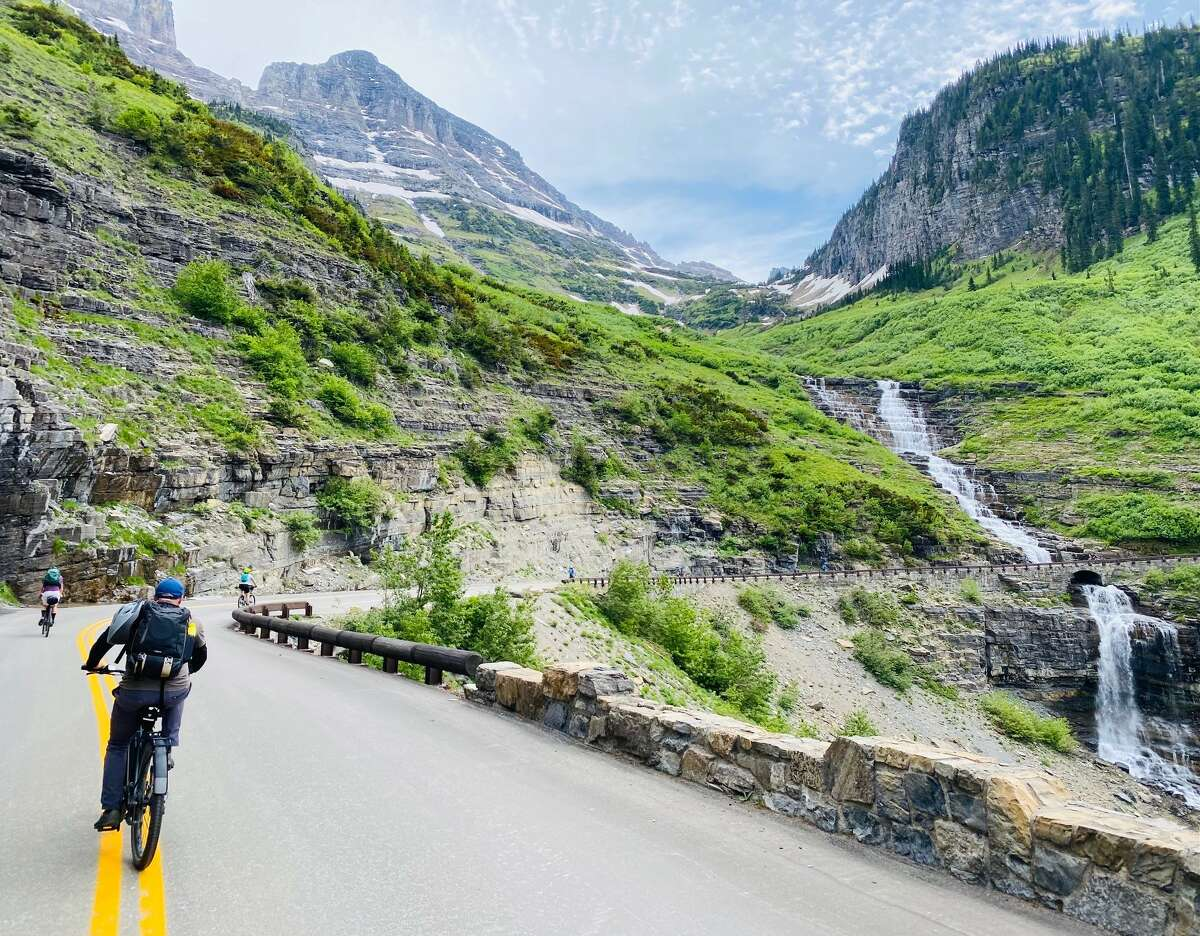 The Rockies appear to be crying along the Going-to-the-Sun Road in Glacier National Park.