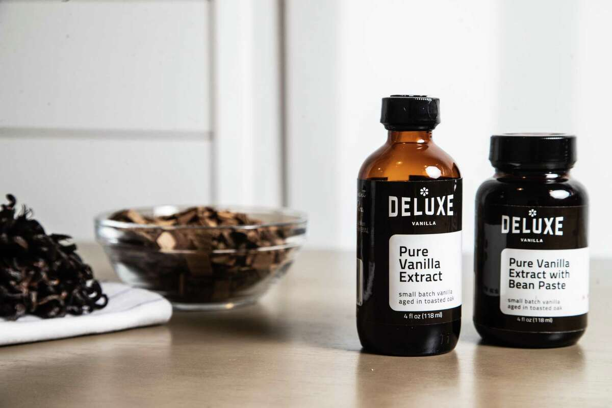 Deluxe Vanilla pure vanilla extract and pure vanilla extract with bean paste, Tuesday, May 11, 2021, in Houston.