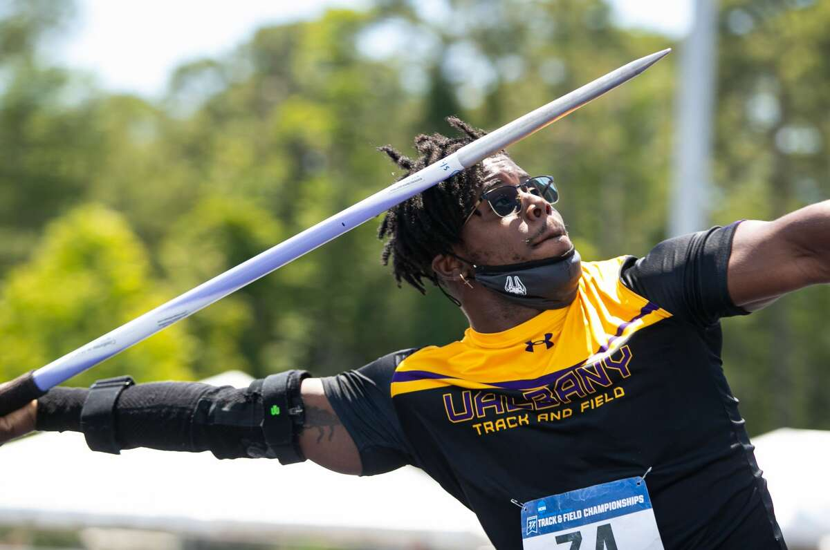 University at Albany javelin thrower Adrian Mitchell was named America East Man of the Year on June 22, 2021. (Jay Bendlin/University at Albany)