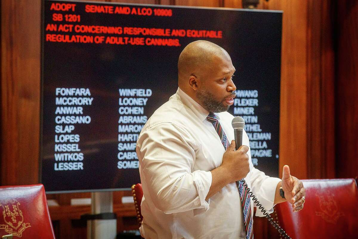 Democrat Connecticut Senator Gary Winfield debates before a vote on the legalization of recreational marijuana during a special session of the legislature on June 15, 2021 in Hartford, Connecticut. (Mark Mirko/Hartford Courant/TNS)