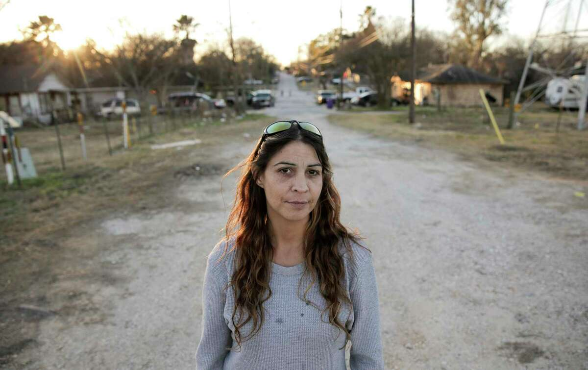 Jessica Chastain talks about the flooding and spills in her Galena Park neighborhood, which is surrounded by chemical plants, on Wednesday, Jan. 24, 2018, in Houston. ( Elizabeth Conley / Houston Chronicle )