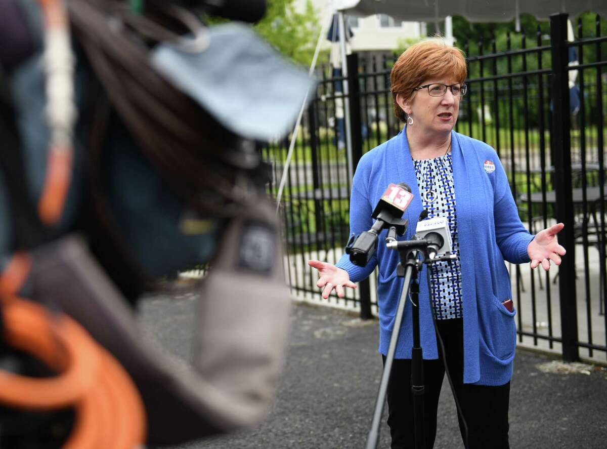 Mayor Kathy Sheehan talks to the press outside The Ancient Order of Hibernians which was a primary polling place for the Democratic Party on Tuesday, June 22, 2021 in Albany, N.Y. (Lori Van Buren/Times Union)