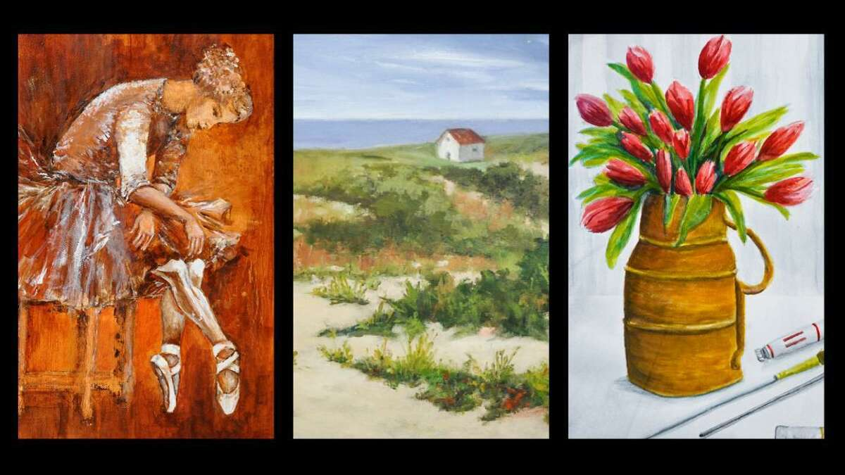 """From left: Acrylic painting by Deborah Apostolico, """"Summer"""" oil painting by Susan Coppola and """"A Force of Spring"""" watercolor by Pat Piscopo."""