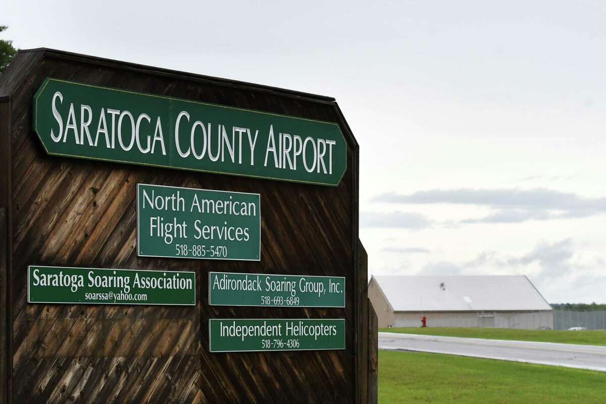 Entrance to Saratoga County Airport on Tuesday, June 22, 2021, in Milton, N.Y. The county is looking to update its airport and purchase more adjoining property. (Will Waldron/Times Union)