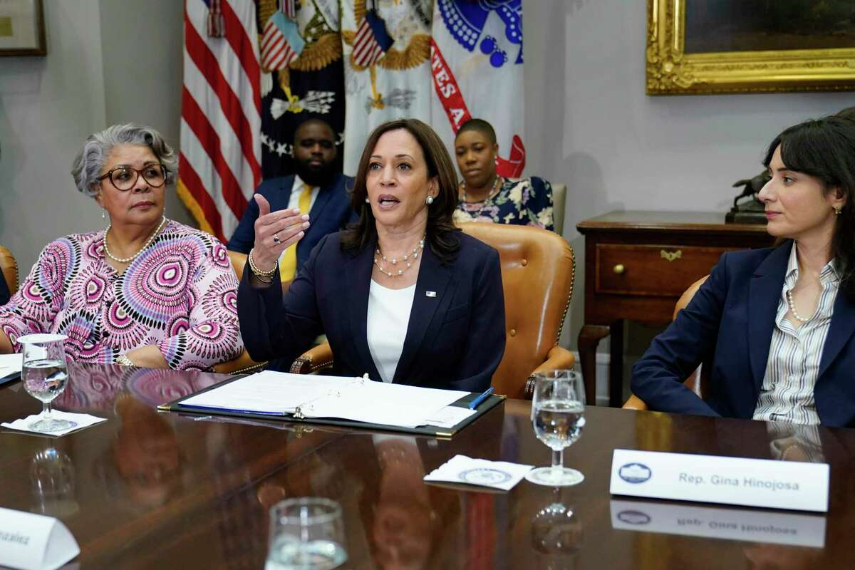 Vice President Kamala Harris, center, flanked by Texas state Rep. Senfronia Thompson, D-Houston, left, and Texas state Rep. Gina Hinojosa, D-Austin, right, speaks during a meeting with members of the Texas State Senate and Texas House of Representatives in the Roosevelt Room of the White House in Washington, Wednesday, June 16, 2021. Member of the Texas delegation in May blocked passage of legislation that would have made it significantly harder for the people of Texas to vote. (AP Photo/Susan Walsh)