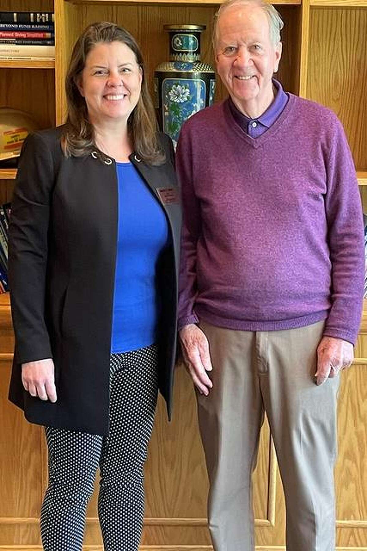 Rachel Stack, vice chancellor for University Advancement at Southern Illinois University Edwardsville, is shown with Jim McPike. Jim and Julie McPike have created a scholarship endowment at SIUE with an initial gift of $432,000 to support students in STEM.