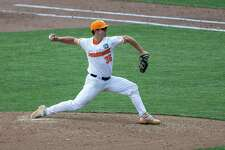 Tennessee's Chad Dallas (36) throws a pitch against Virginia during a baseball game in the College World Series, Sunday, June 20, 2021, at TD Ameritrade Park in Omaha, Neb. (AP Photo/John Peterson)