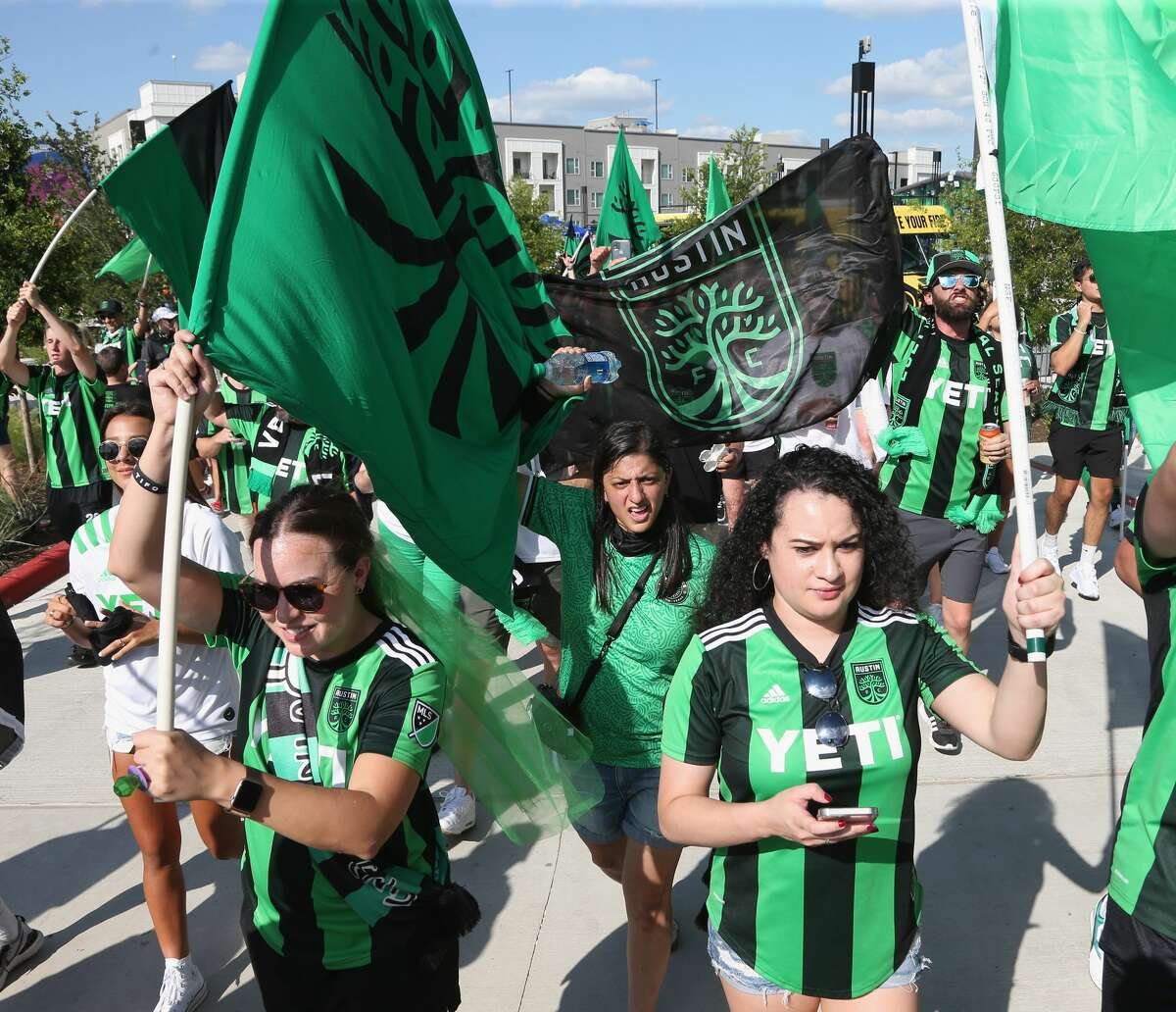 AUSTIN, TX - JUNE 19: Fans attend the inaugural home game between San Jose Earthquakes and Austin FC at Q2 Stadium on June 19, 2021 in Austin, Texas. (Photo by Gary Miller/Getty Images)