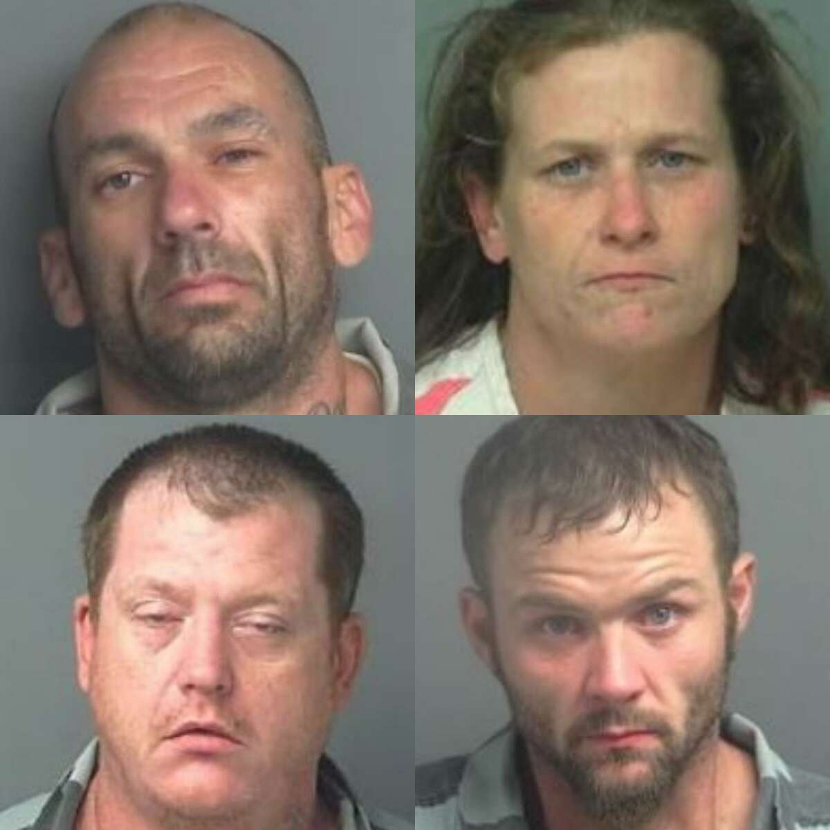 Clockwise from left top, Brian Robert Adams, 37, Bonnie Hough Garcia, 43, Marshall Neal Hough, 46, David Michael Kull, 34, are charged with the felony offense of engaging in organized crime.