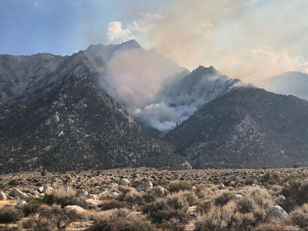 The Inyo Creek Fire burning near Mount Whitney. The lightning-sparked fire grew to more than 400 acres Tuesday, whipped up by gusty winds.