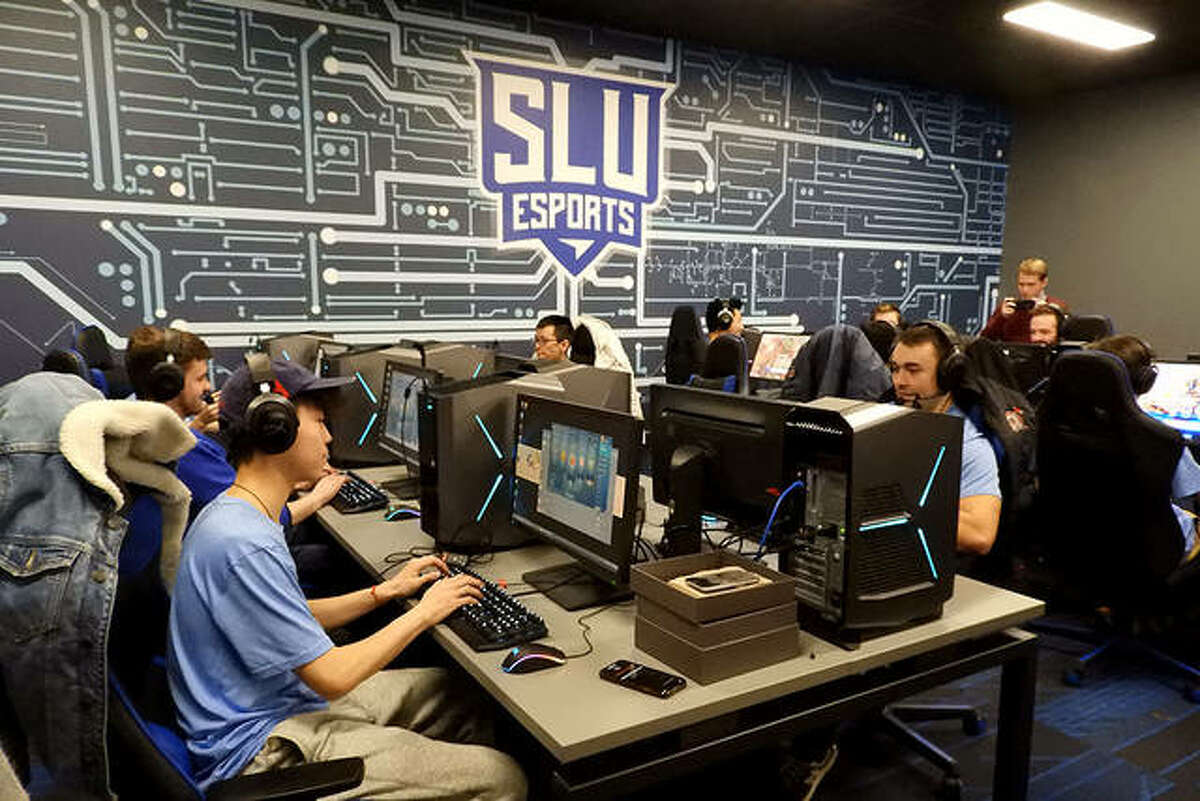 Members of the St. Louis University esports are shown in this January photo in their facility in the Busch Student Center. The school is one of 16 teams competing July 2-4 at the inaugural Gateway Legends Collegiate Invitational at Ballpark Village in St. Louis.