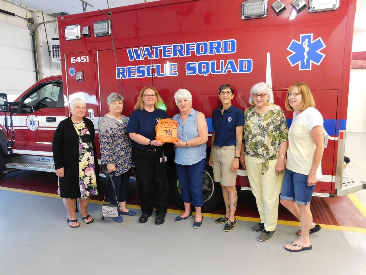 The Waterford Lion's Club recently presented the Waterford Rescue Squad with pet masks to be used in pet rescues during fires, or other life-threatening emergencies requiring oxygen. Pictured from left are Lions Mary Ann Kelts, Fran Lawler, Rescue Squad Chief of Operations Tracy Weir, Marilynn Brown, Barb Turpin, Diana Roy and Laurie Marble.
