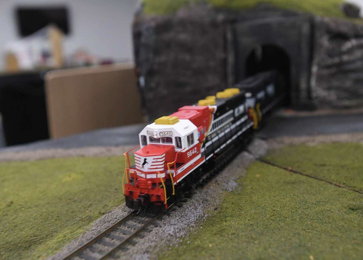The East Texas and Gulf Rail Modelers Association's model train show is on display through Sunday at the Port Arthur Library. Photo made Friday, June 18, 2021 Kim Brent/The Enterprise