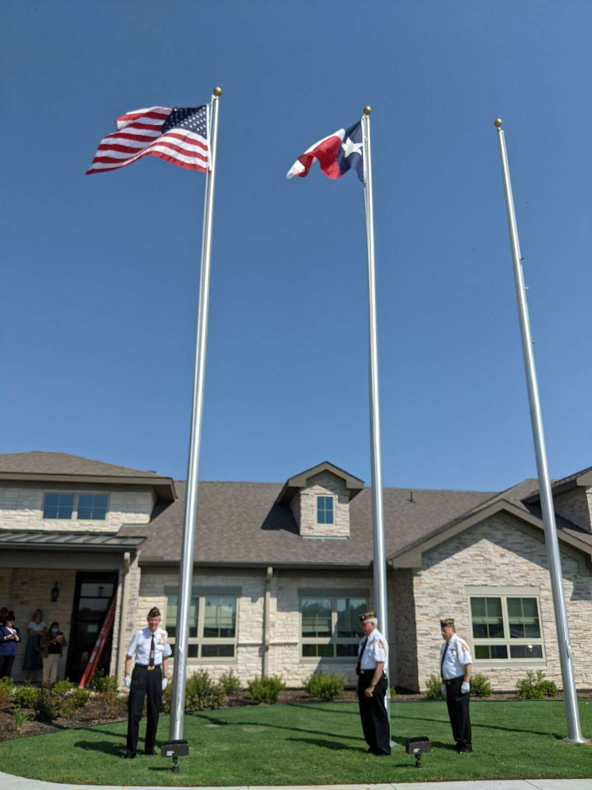 The opening festivities for the Village as Sugar Land included a posting of the colors from members of the Katy VFW Post 9182 and American Legion Post 164. Shown here are Jose Rodriguez, Jeb Strickland, Rico Spacek, Ted Custer, Jose Nicto and Jim Scoggin.