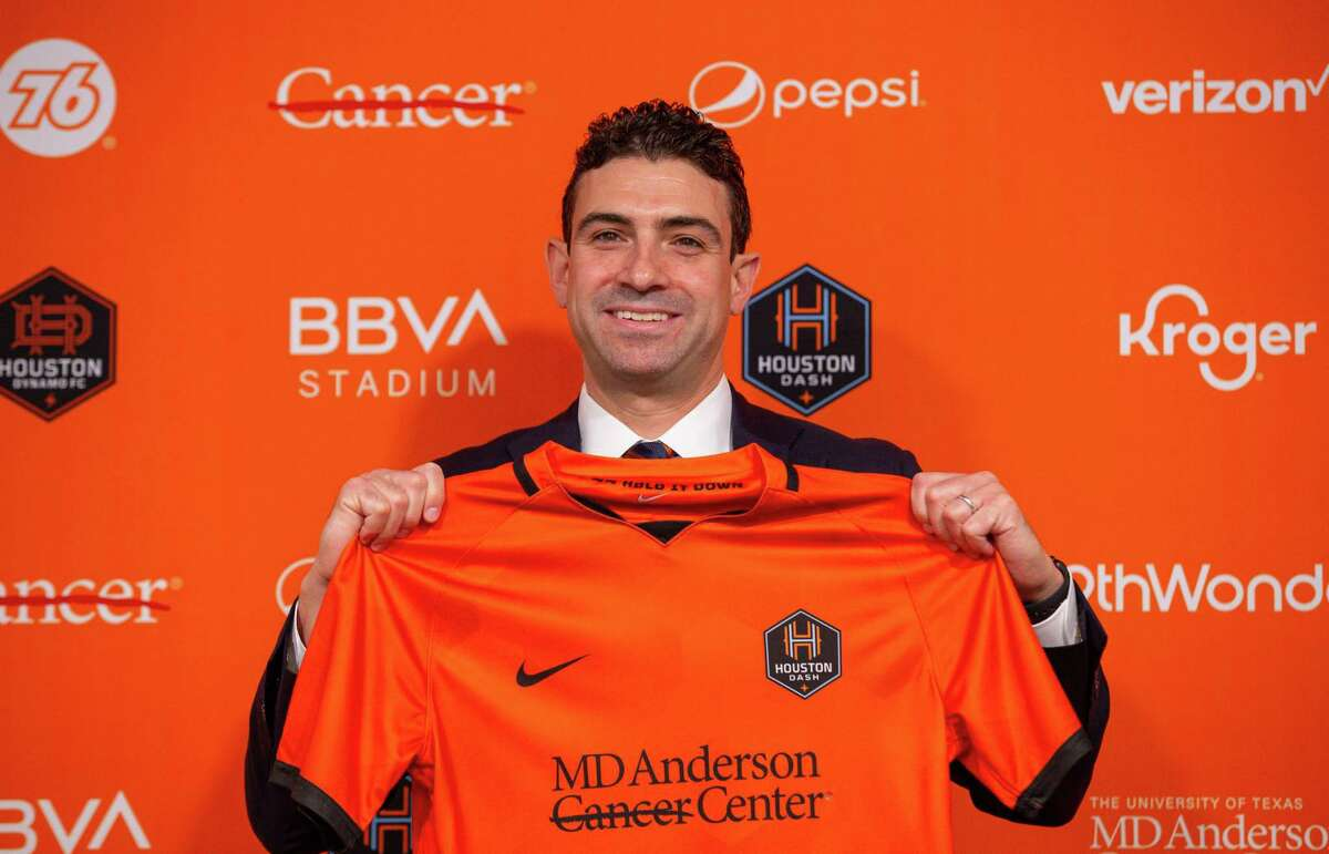Houston Dynamo FC and Dash majority owner Ted Segal, poses for a photograph following a press conference at BBVA Stadium on Tuesday, June 22, 2021, in Houston.