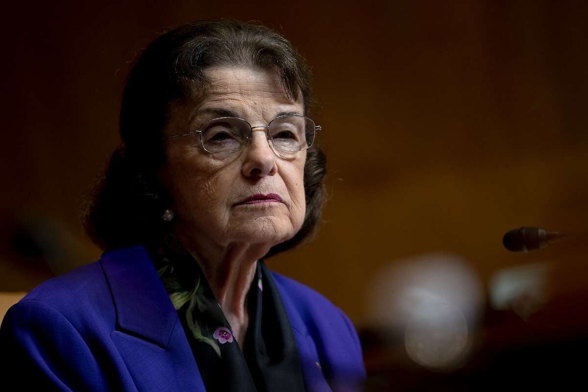 Sen. Dianne Feinstein, D-Calif., attends a Senate Appropriations Subcommittee on Commerce, Justice, Science, and Related Agencies hearing, Wednesday, June 9, 2021, on Capitol Hill in Washington. (Stefani Reynolds/The New York Times)