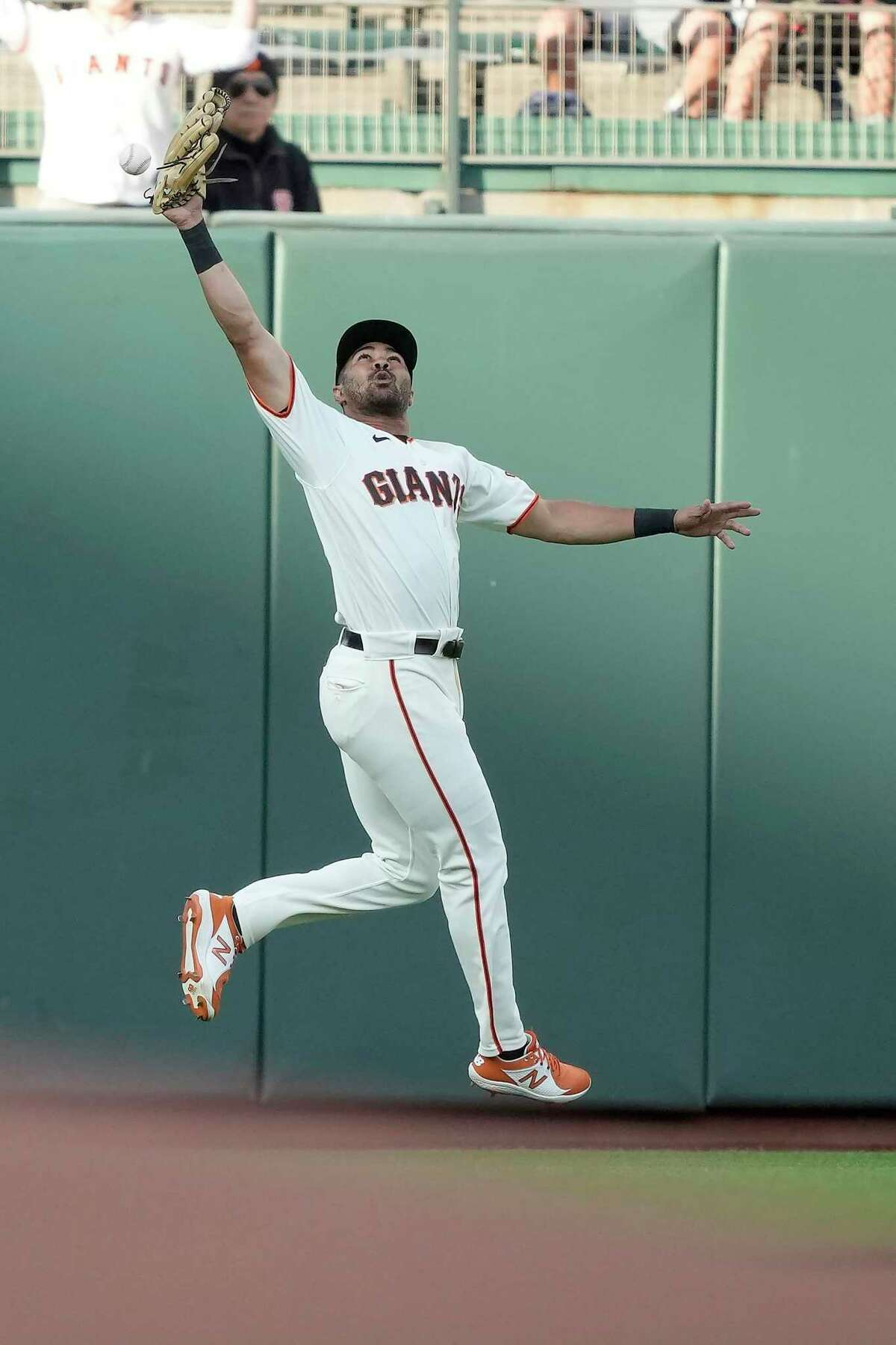 San Francisco Giants left fielder LaMonte Wade Jr. cannot make the catch on a double by Arizona Diamondbacks' Josh Rojas during the first inning of a baseball game Wednesday, June 16, 2021, in San Francisco. (AP Photo/Tony Avelar)