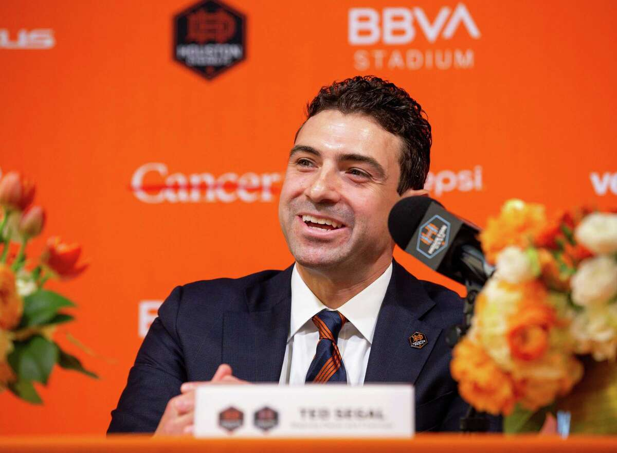 Ted Segal answers questions from reporters during a presser's conference in which he was announced as the new majority owner of the Houston Dynamo FC and Dash Houston, at BBVA Stadium on Tuesday, June 22, 2021, in Houston.