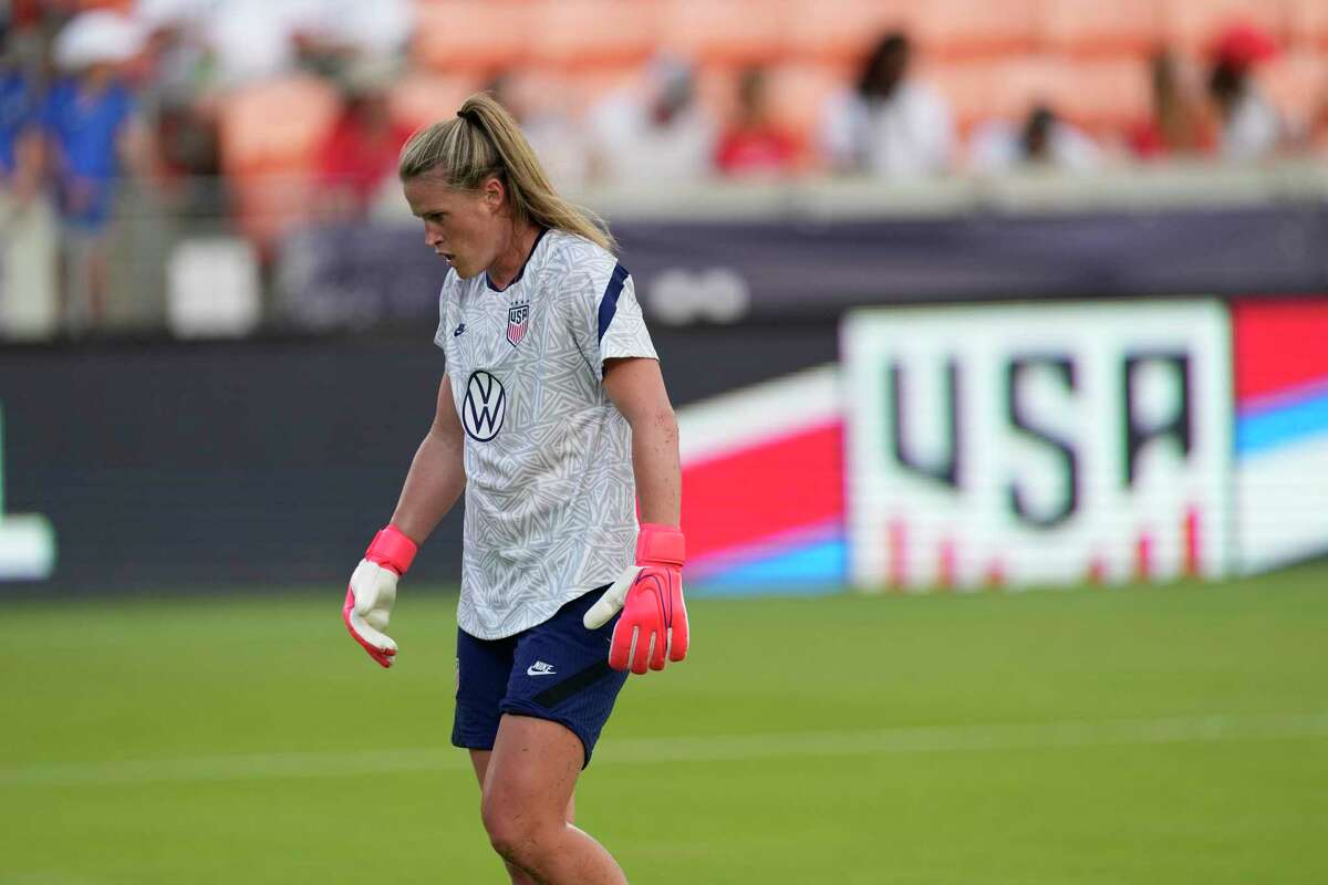 United States goalkeeper Alyssa Naeher warms up before an international friendly soccer match against Portugal Thursday, June 10, 2021, in Houston. (AP Photo/David J. Phillip)