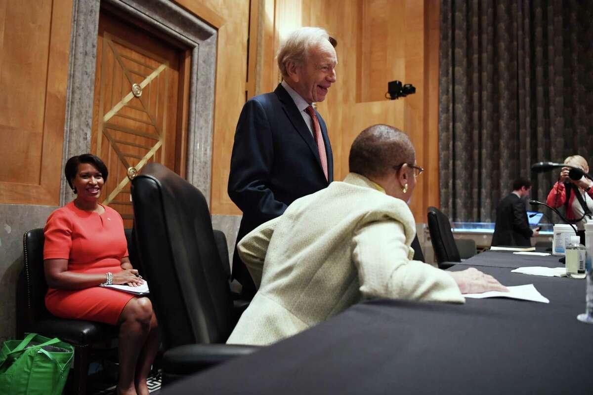 D.C. Democratic Mayor Muriel E. Bowser, left, with former senator Joe Lieberman and D.C.'s nonvoting House delegate, Democrat Eleanor Holmes Norton, before the Senate hearing on statehood Tuesday.