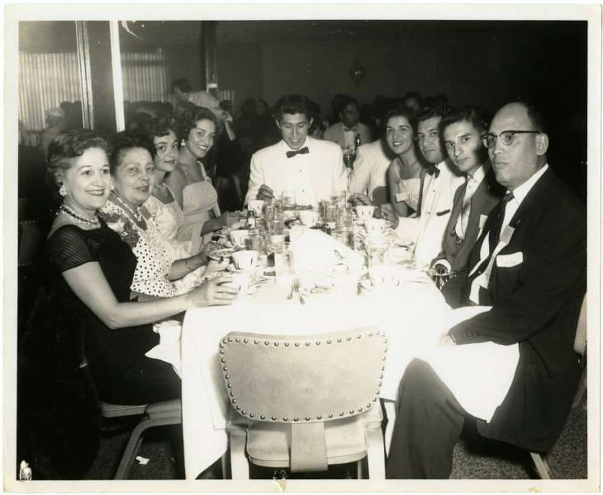 Carmen Cortez, left, at a convention of the League of United Latin American Citizens in California in 1957. She was a Mexican American activist born in 1913 in San Antonio. She grew up in Houston, where she was a founding member of the Club Femenino Chapultepec, or Chapultepec Club, and also secretary of LULAC at the national level. The picture is part of the Carmen Cortez Papers of the Houston Public Library.