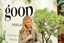 Gwyneth Paltrow speaks during a live episode of the Goop Podcast in Beverly Hills, California.