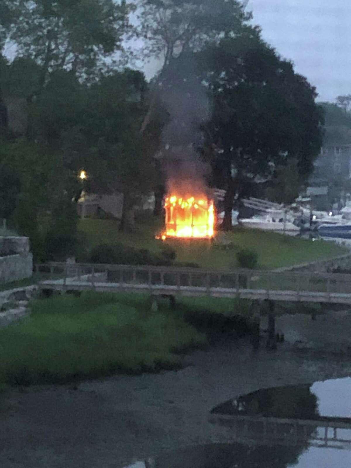 A fire Monday morning damaged a gazebo.