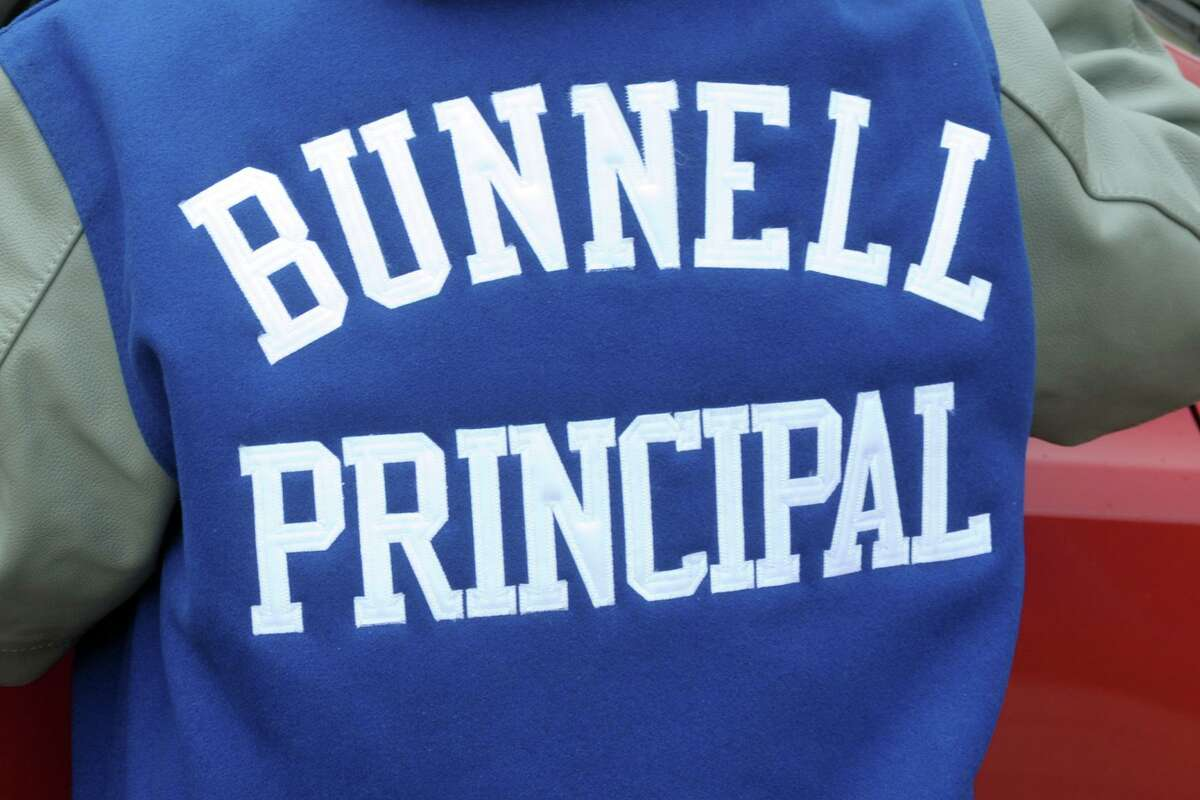 Principal Nancy Dowling recently received a Bunnell High School varsity jacket as a retirement present, in Stratford, Conn. June 22, 2021.