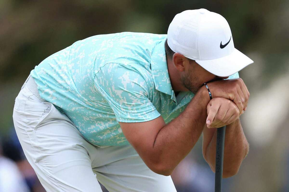 SAN DIEGO, CALIFORNIA - JUNE 20: Brooks Koepka of the United States reacts on the 17th green during the final round of the 2021 U.S. Open at Torrey Pines Golf Course (South Course) on June 20, 2021 in San Diego, California. (Photo by Sean M. Haffey/Getty Images)