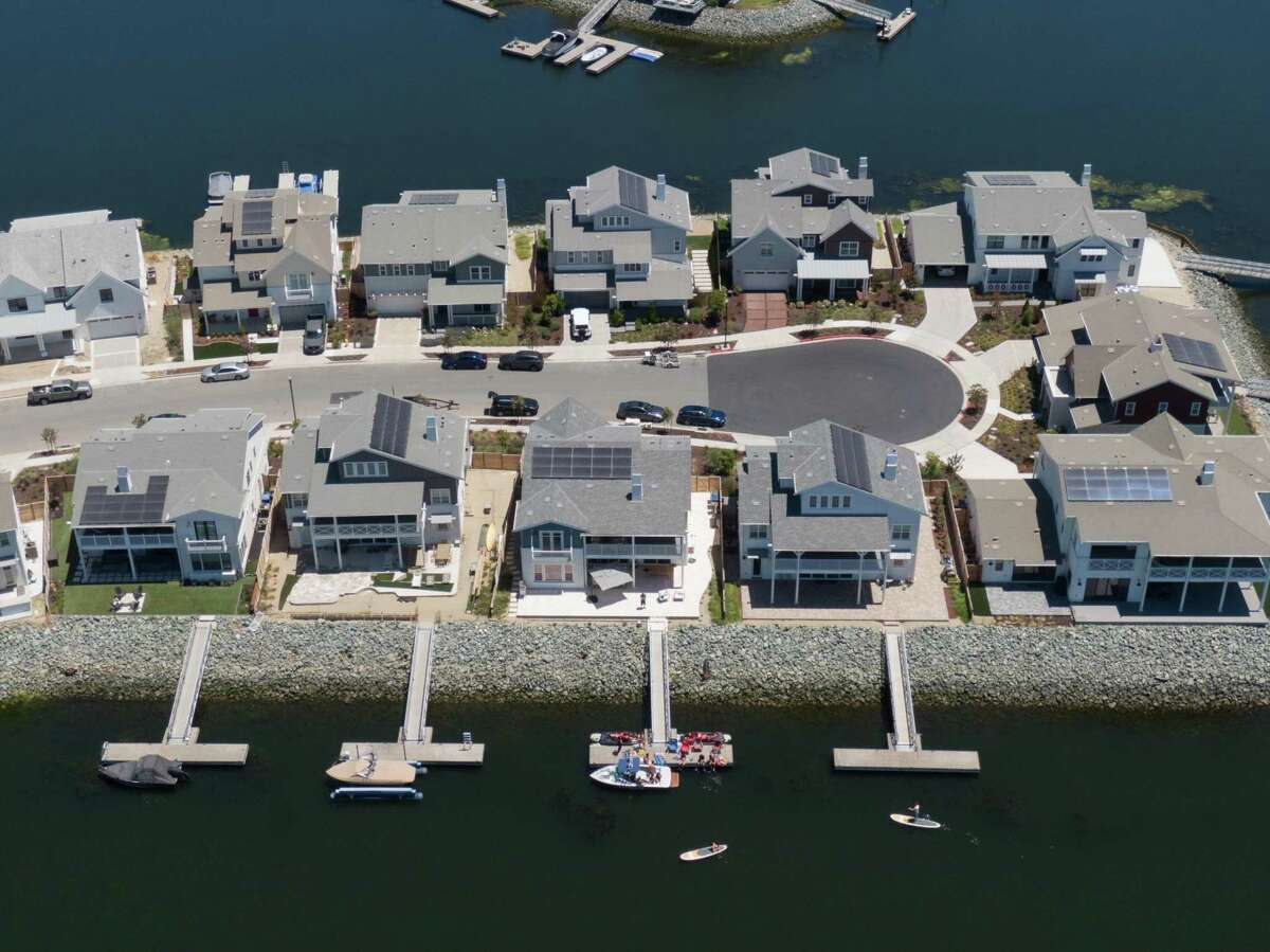 Homes on the built up peninsulas at Delta Coves in Bethel Island. The development has been decades in the making, but is finally seeing residents settle in.