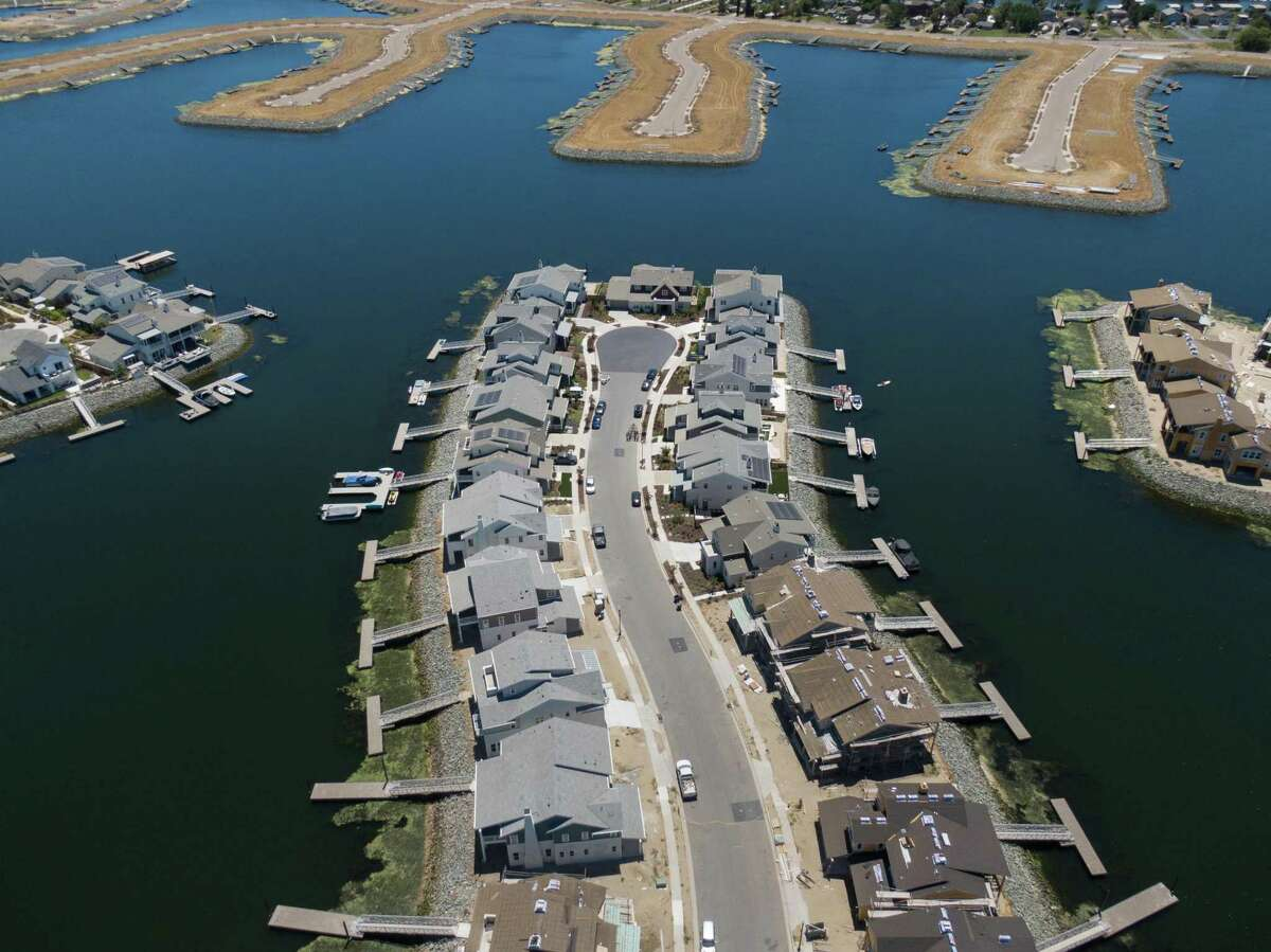 Homes and lots on the built up peninsulas at Delta Coves in Bethel Island.