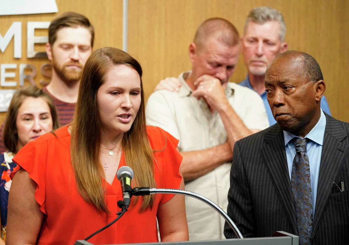 Harley Mikeska speaks at Crime Stoppers, 3001 Main St., Monday, June 21, 2021 in Houston about her mother Elsa Mikeska, who was killed last Thursday on her way to the gym. The family was joined by Houston Mayor Sylvester Turner, right, at a press conference.