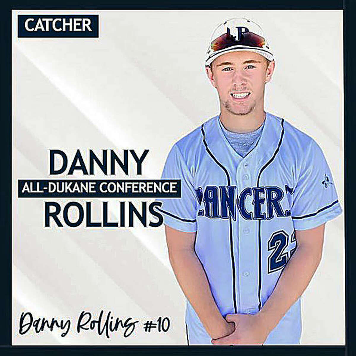 Danny Rollins is pictured in a Lake Park High School promotional graphic after being named first-team all-conference as a sophomore.