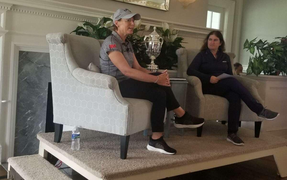Annika Sorenstam, left, speaks at U.S. Senior Women's Open Media Day at Brooklawn Country Club in Fairfield on Tuesday.