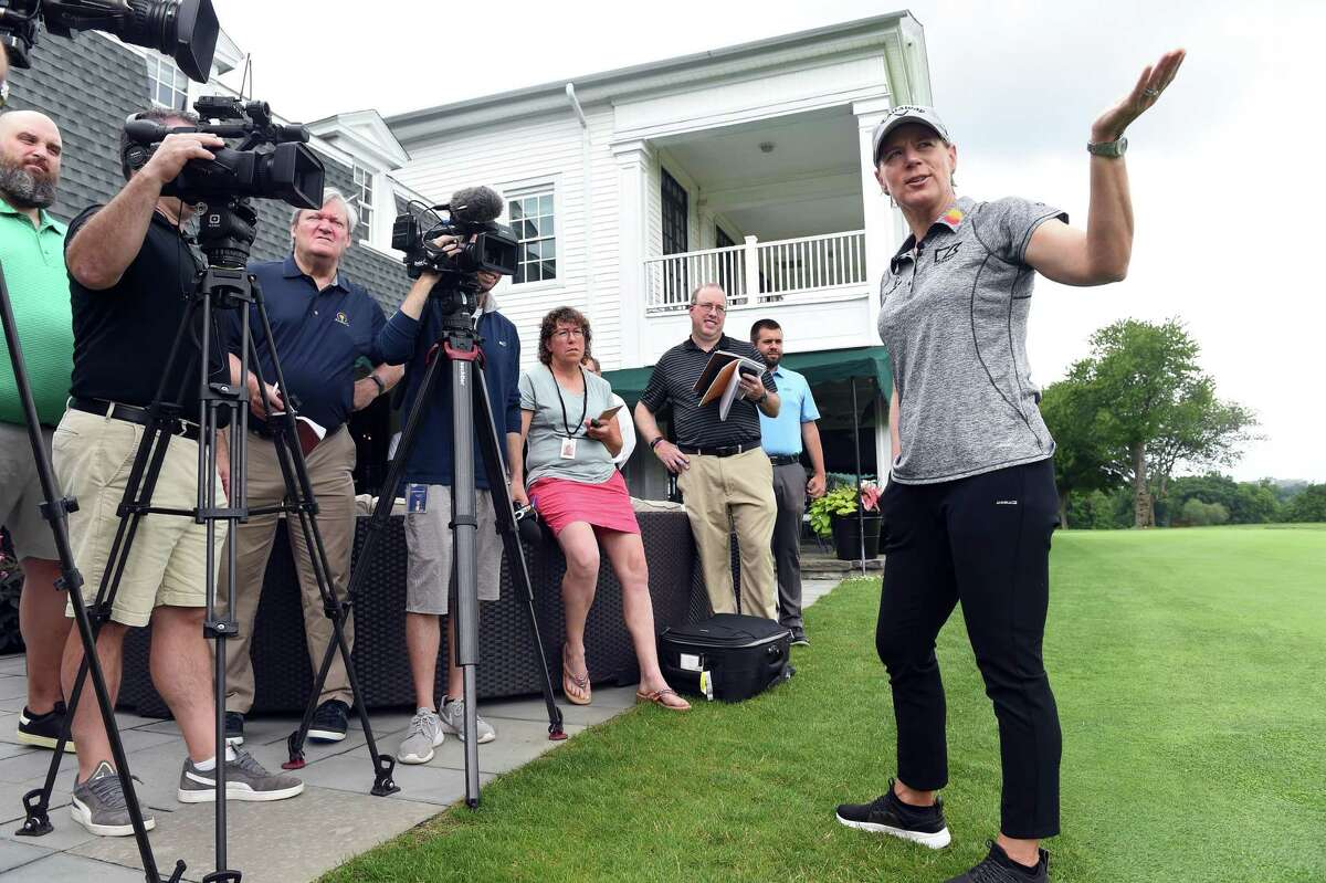 Hall of Fame golfer Annika Sorenstam speaks with the press at Brooklawn Country Club in Fairfield on Tuesday.