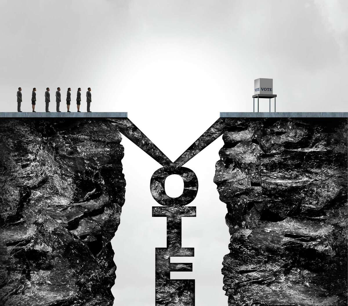 Vote challenges and voting problem or voter suppression as an election issue as a political policy for difficulty casting votes in the ballot box for presidential or congresional elections with 3D illustration elements.