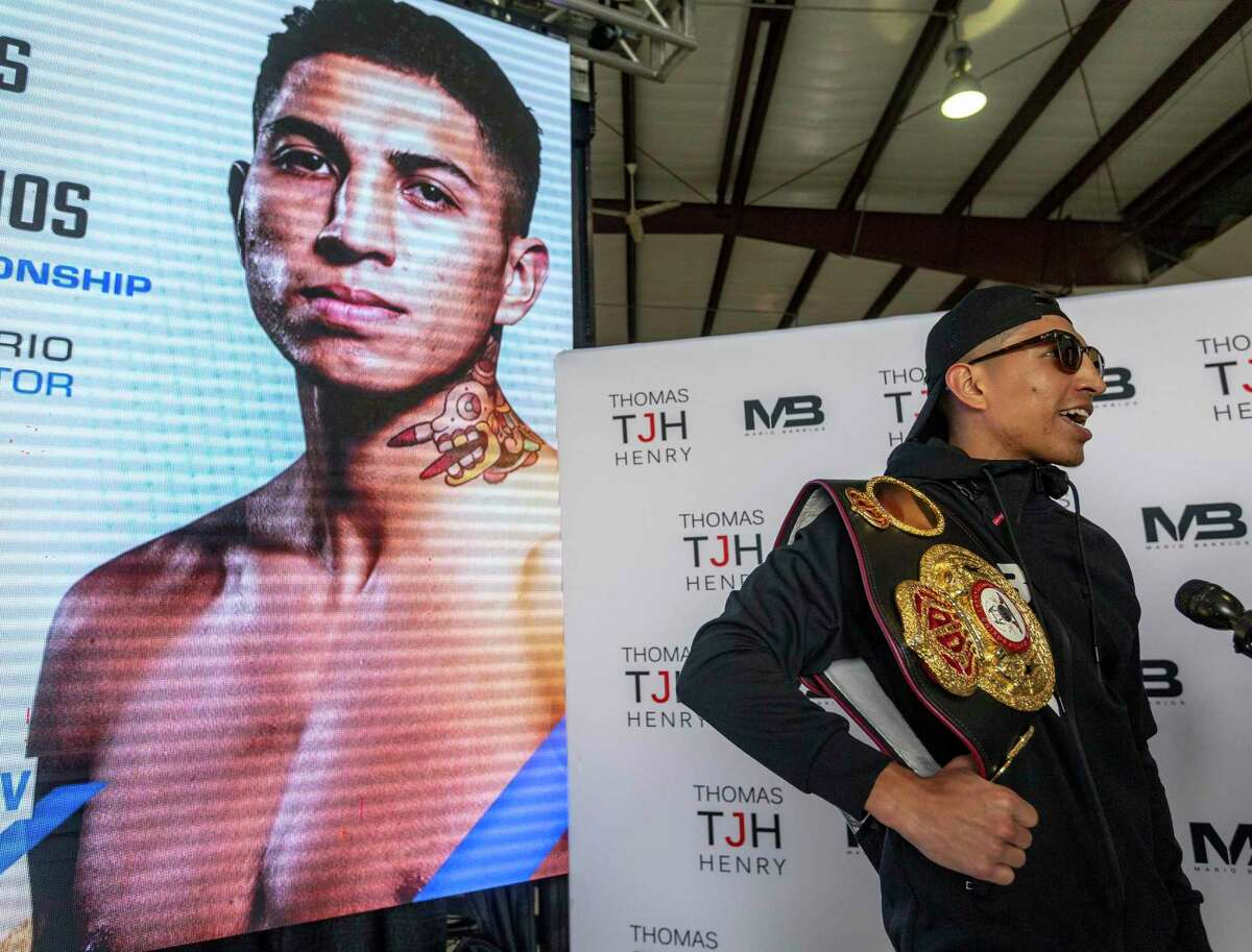 """Mario """"El Azteca"""" Barrios, the undefeated WBA light welterweight boxing champion, talks to the media Tuesday afternoon during a brief stop at the San Antonio airport to promote his Saturday fight against two-division world champion Gervonta """"Tank"""" Davis."""